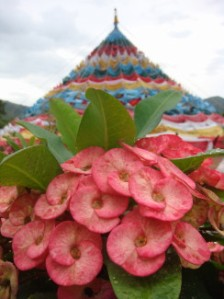 mantra stupa with flower