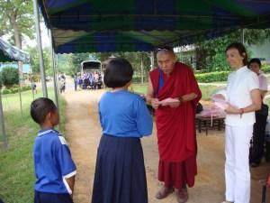 Giving gifts to Walai kids