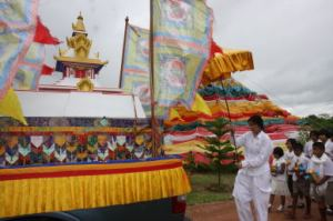 stupa in procession